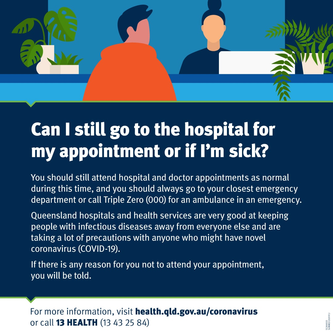 COVID-19 - QLD Health FAQ - Can I still go to the hospital for my appointment or if I'm sick_ - Novel Coronavirus (COVID-19)