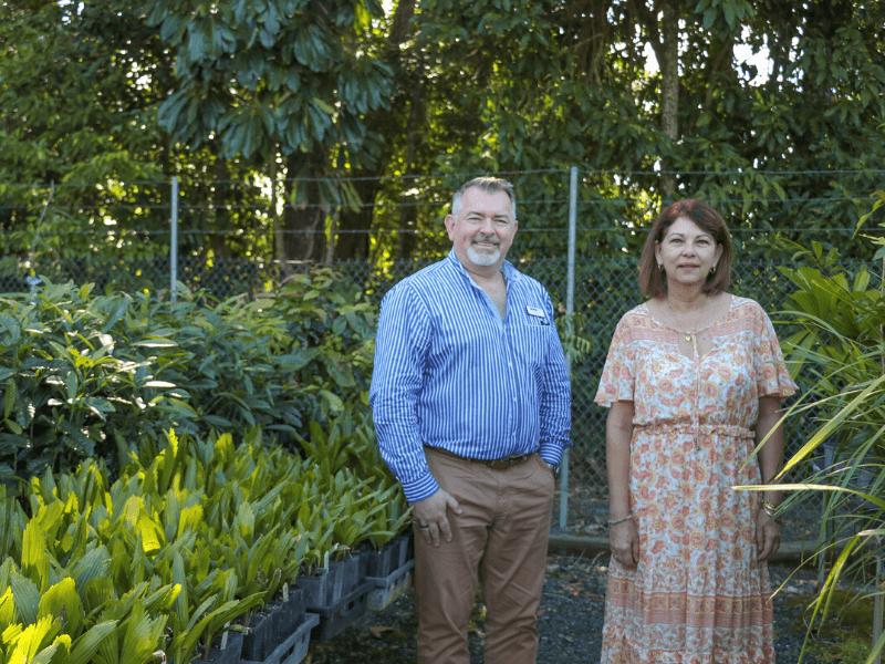 Cr Scomazzon & Mayor Kerr at Mossman Nursery