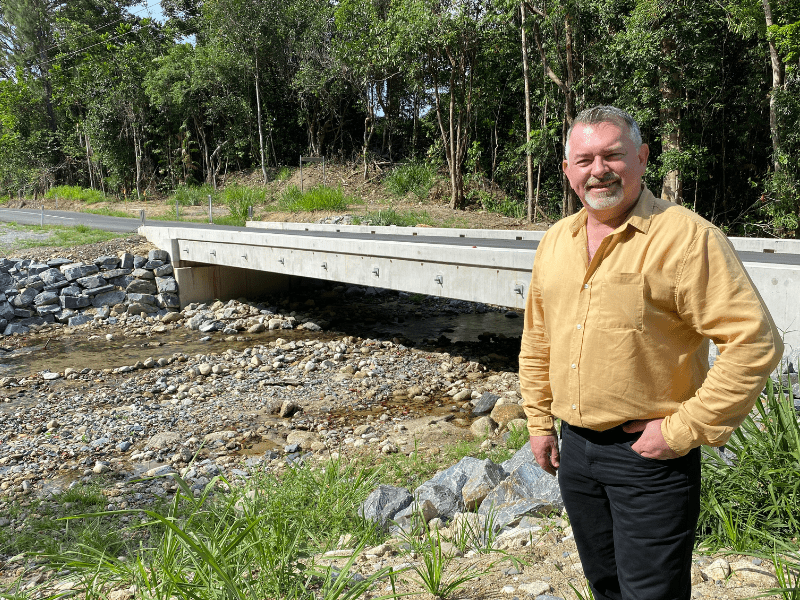 Douglas Shire Mayor Michael Kerr at Jimalji Bridge at Whyanbeel